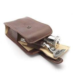 Muhle Reis Scheerset (3-delig) Lederen case (bruin) Mach 3