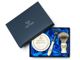 Taylor of Old Bond Street Silvertip Badger Scheerkwast, Scheermes & Shavingcream 150g Sandalwood