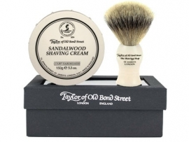 Taylor of Old Bond Street Giftbox Super Badger & Shavingcream 150g Sandalwood