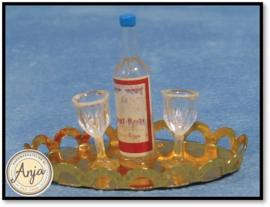 D855 Dienblad met  wijnfles en glazen
