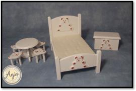 DF1519 Kinderslaapkamer wit met beertjes