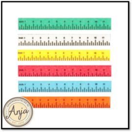 HR57010S Liniaal, zes stuks diverse kleuren