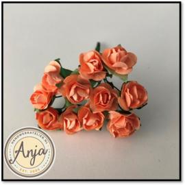 Bosje van 12 perzik papieren roosjes