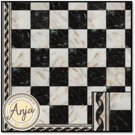 34733 White And Black Marble