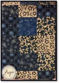 HWA700 patchwork wit/blauw
