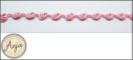 Viscose bloemenband roze B0320-2