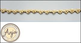 Gevlochten goudband met kraaltjes B0320-12