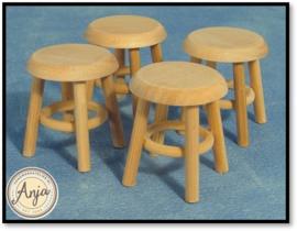BEF061 Krukjes per vier blankhout