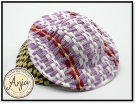 Stro hoed bruin-pink FA44P