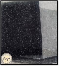 TKG2819-13 Fijne tule zwart met glitter
