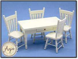 ZS48 Keukentafel met vier stoelen, crème