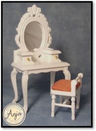 DF1515 Toilettafel met krukje wit