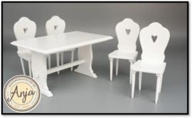 Keukentafel met vier stoelen DF1454 + 2x DF1455