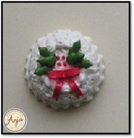 DHMK03 Kersttaart wit, strik en hulst