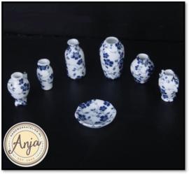 Porseleinen decorset blauw