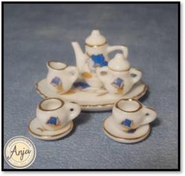 D2260 Koffieserviesje blauw met goud