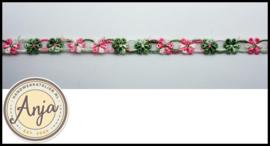 Band bloemen roze groen B0320-10