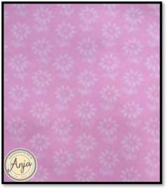 HWA847 katoen roze met wit bloemetje