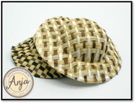 Stro hoed bruin-wit FA44BR