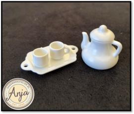 Witte koffieset plastic