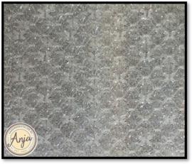 AH004A fijne tule met zilverdraad grijs/wit