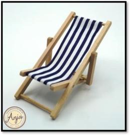 Strandstoel inklapbaar blauw