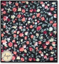 HD1024 Stof bloemetjes roze rood op zwart