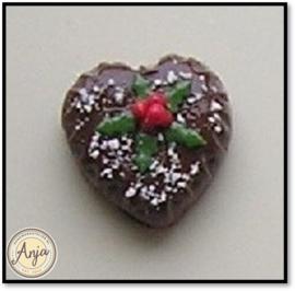 DHMK01 Kersttaart bruine chocolade hartvorm