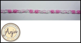 Band bloemen roze wit B0320-9