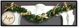 DHP109 Kerstguirlande goud met ivoor lint