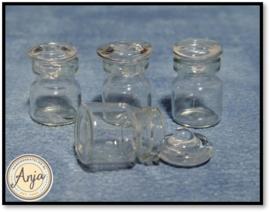 D1265 Glazen potjes met deksel van glas per vier