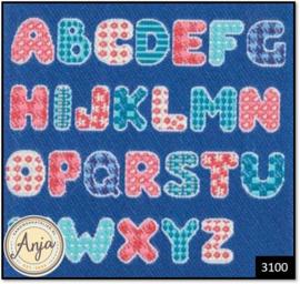 3100 Blue Alphabet Rug
