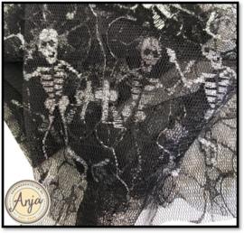 TKG2819-15 Fijne tule zwart met zilver skelet