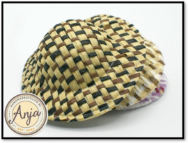 Stro hoed bruin-zwart FA44