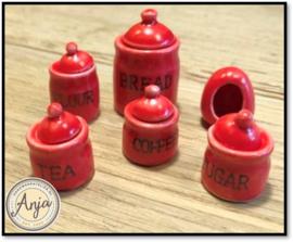 D2209 Thee, koffie, suiker & brood potten, rood