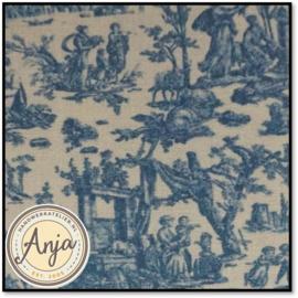 PR5819-12A Toile de jouy bleu 50 x 35