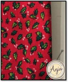 Kerstlapje 10 lapje rood met hulstblaadjes