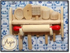 KA325 Rek met keuken accessoires hout