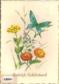 Wilde bloemen met vlinder (1) oude AFHK kaart poezieplaatjes [10235]