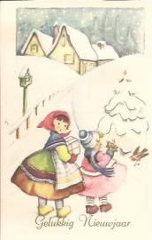 Daar komt bezoek! - Gelukkig Nieuwjaar - oude kaart
