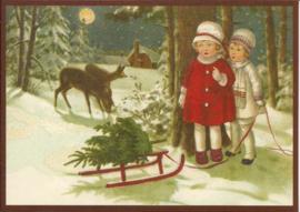 Meisjes en hertjes in sneeuwbos Glitter prentbriefkaart [SV 6Wg073]