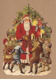 Kinderen dansen rond Kerstman poezieplaatjes 5161