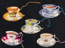 Cadeaulabels Theekopjes - High Tea 5 stuks