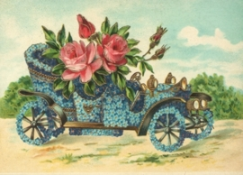 Oltimer met Vergeet-mij-nietjes en rozen Reliefkaart EF 3004
