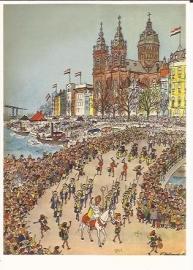 Sinterklaas intocht Amsterdam prentbriefkaart [D1245]