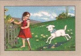Oude Litho: lammetje komt naar meisje gerend