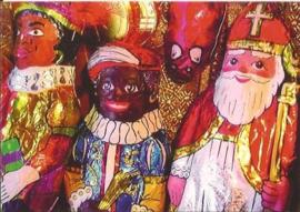 Chocolade Sinterklaas & Zwarte Piet prentbriefkaart [C10490]