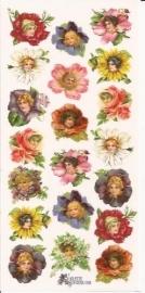 Bloemenkopjes poezieplaatjes Stickers C23
