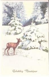 Hertje in bos - Gelukkig Nieuwjaar - oude kaart