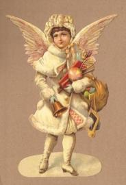 Winter Engel met geschenken poezieplaatjes 5151